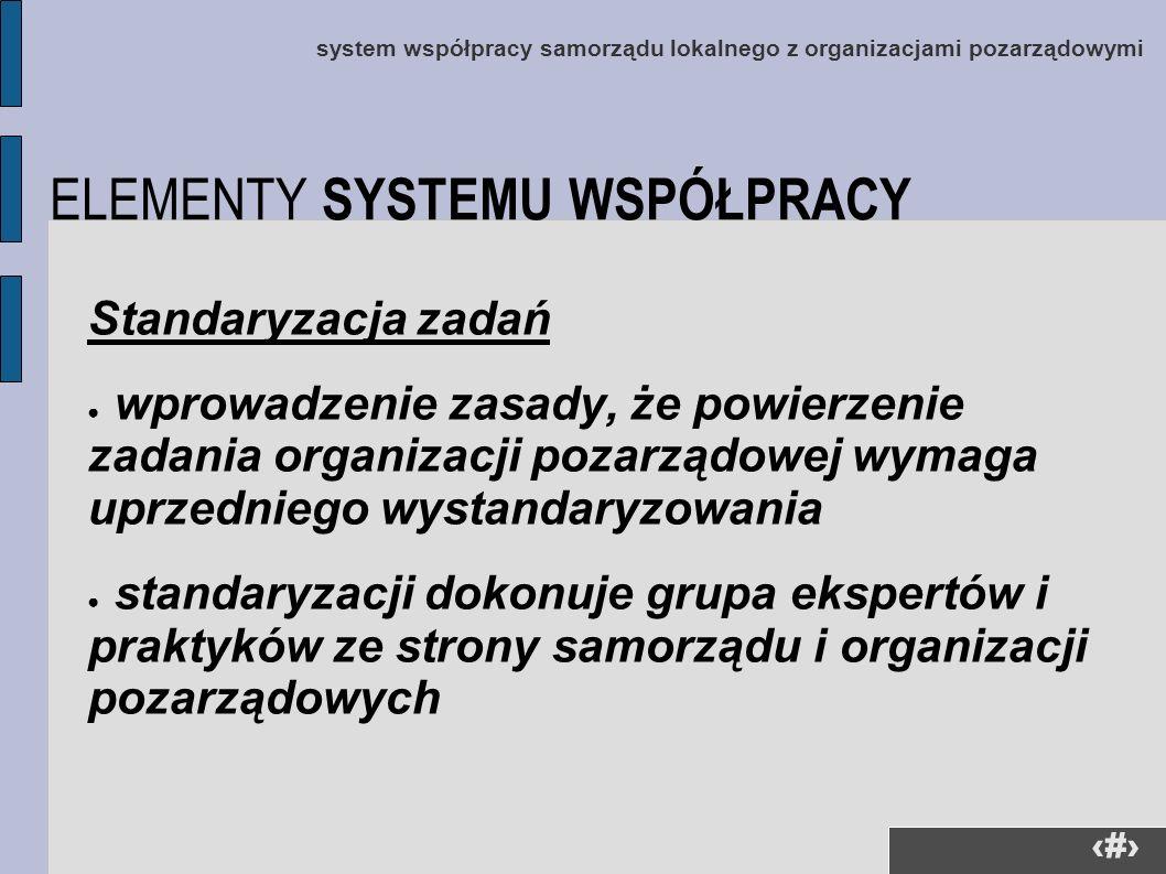 30 system współpracy samorządu lokalnego z organizacjami pozarządowymi Standaryzacja zadań wprowadzenie zasady, że powierzenie zadania organizacji poz
