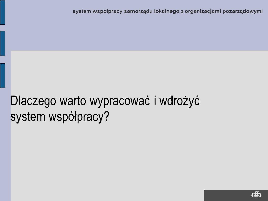 33 system współpracy samorządu lokalnego z organizacjami pozarządowymi Dlaczego warto wypracować i wdrożyć system współpracy?