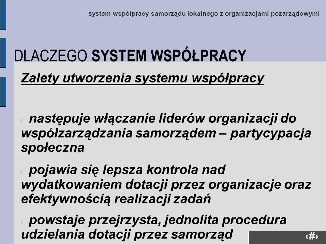 35 Zalety utworzenia systemu współpracy następuje włączanie liderów organizacji do współzarządzania samorządem – partycypacja społeczna pojawia się le