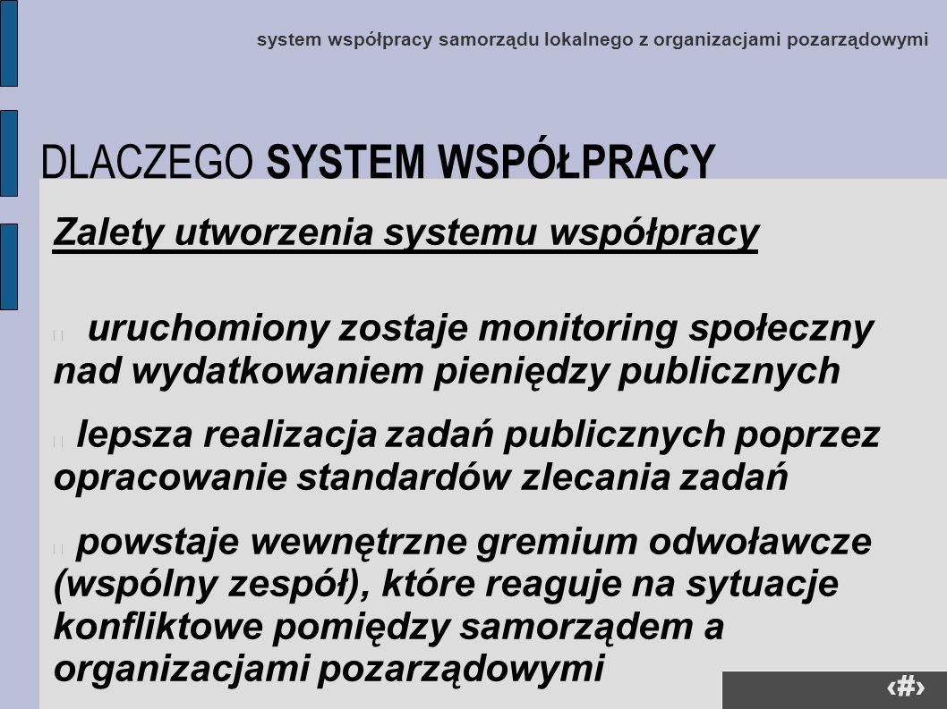 36 Zalety utworzenia systemu współpracy uruchomiony zostaje monitoring społeczny nad wydatkowaniem pieniędzy publicznych lepsza realizacja zadań publi