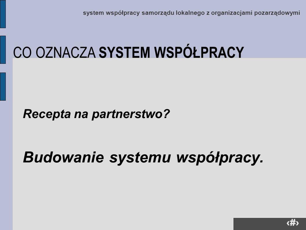 4 system współpracy samorządu lokalnego z organizacjami pozarządowymi Recepta na partnerstwo? Budowanie systemu współpracy. CO OZNACZA SYSTEM WSPÓŁPRA