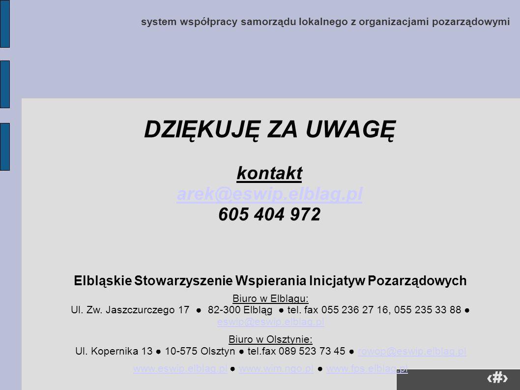 41 system współpracy samorządu lokalnego z organizacjami pozarządowymi DZIĘKUJĘ ZA UWAGĘ kontakt arek@eswip.elblag.pl 605 404 972 Elbląskie Stowarzysz