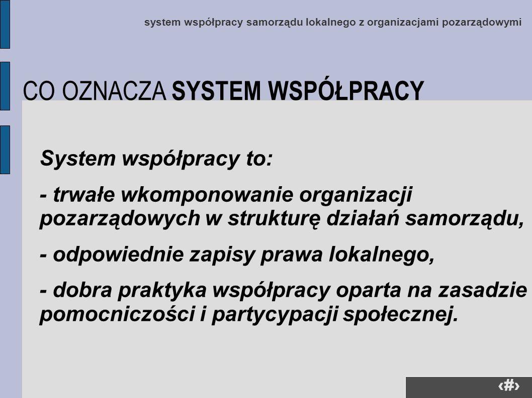 5 system współpracy samorządu lokalnego z organizacjami pozarządowymi System współpracy to: - trwałe wkomponowanie organizacji pozarządowych w struktu