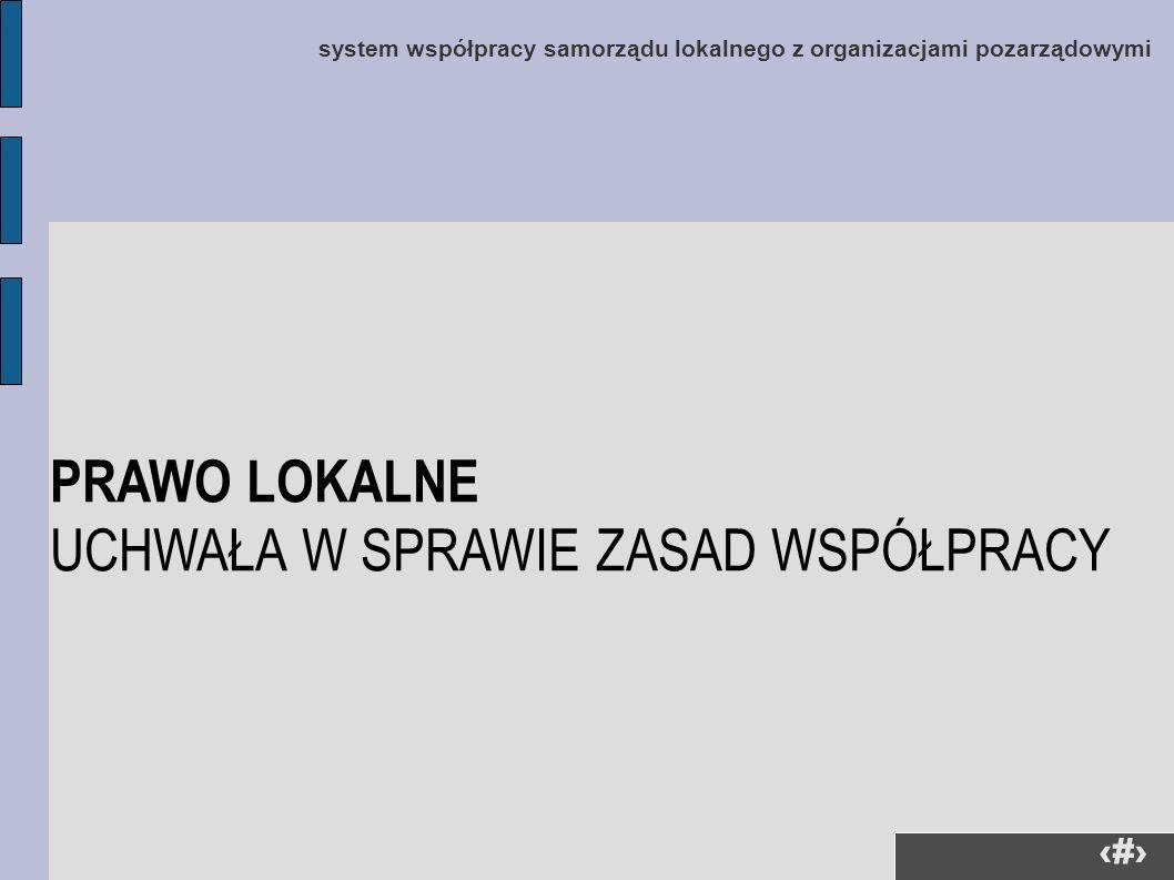 8 system współpracy samorządu lokalnego z organizacjami pozarządowymi PRAWO LOKALNE UCHWAŁA W SPRAWIE ZASAD WSPÓŁPRACY