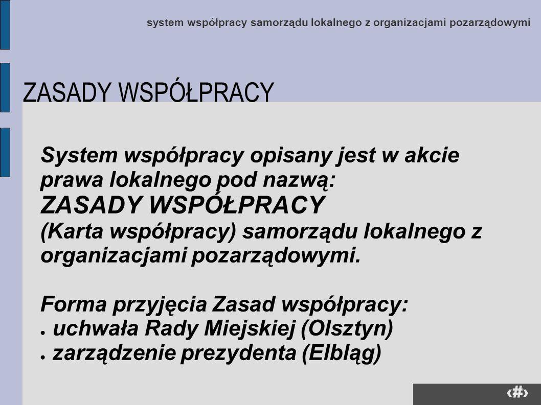 9 system współpracy samorządu lokalnego z organizacjami pozarządowymi System współpracy opisany jest w akcie prawa lokalnego pod nazwą: ZASADY WSPÓŁPR