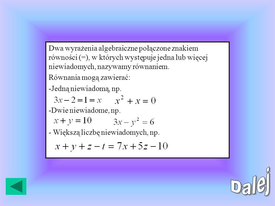 II. Równania, nierówności, układy równań