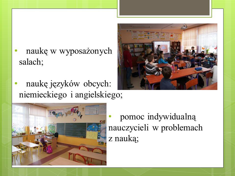 stołówkę szkolną minimalną opłatę za korzystanie z podręczników szkolnych max 150 zł /koszt dla klasy I SP oraz I i II G w innych szkołach to 300 – 400 zł/; cotygodniową opiekę higienistki szkolnej;