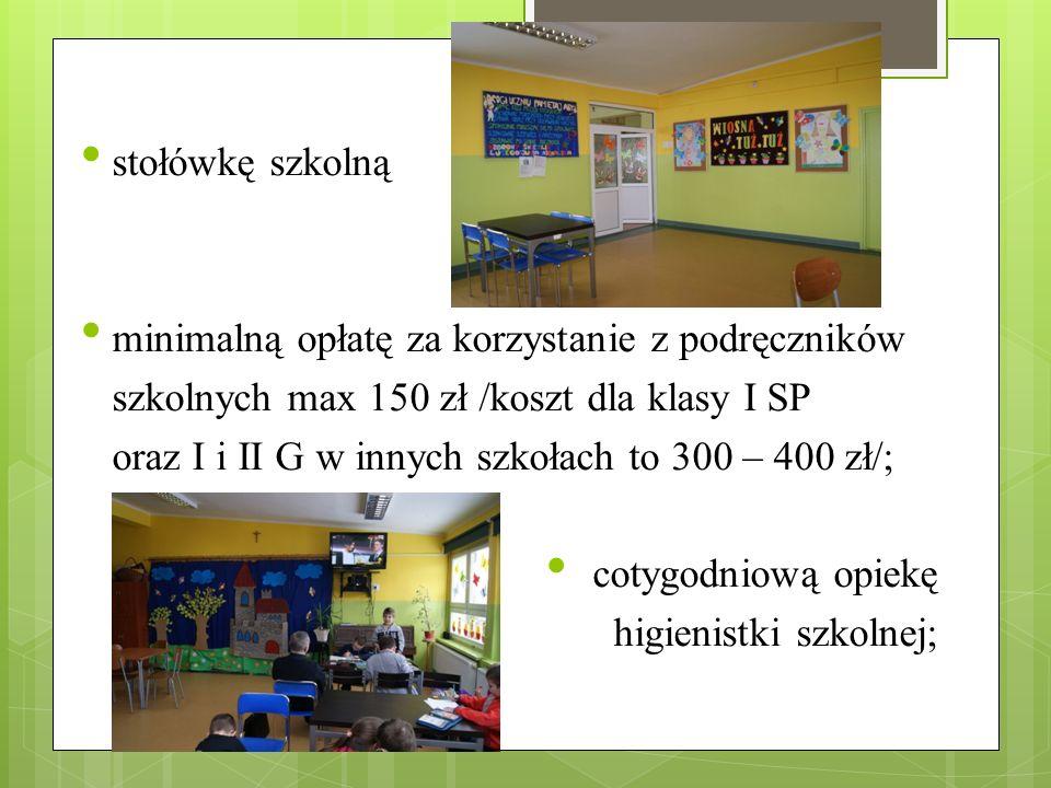 stołówkę szkolną minimalną opłatę za korzystanie z podręczników szkolnych max 150 zł /koszt dla klasy I SP oraz I i II G w innych szkołach to 300 – 40
