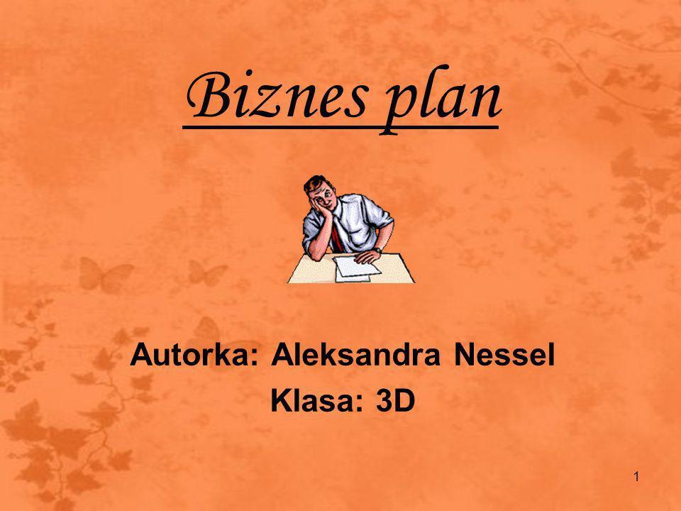 1 Biznes plan Autorka: Aleksandra Nessel Klasa: 3D