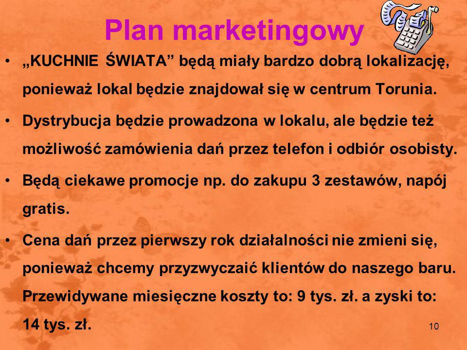 10 Plan marketingowy KUCHNIE ŚWIATA będą miały bardzo dobrą lokalizację, ponieważ lokal będzie znajdował się w centrum Torunia. Dystrybucja będzie pro