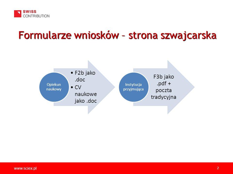 www.sciex.pl 2 Formularze wniosków – strona szwajcarska F2b jako.doc CV naukowe jako.doc Opiekun naukowy F3b jako.pdf + poczta tradycyjna Instytucja przyjmująca