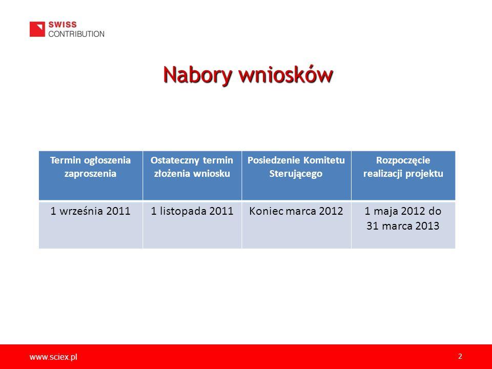 www.sciex.pl 2 Nabory wniosków Termin ogłoszenia zaproszenia Ostateczny termin złożenia wniosku Posiedzenie Komitetu Sterującego Rozpoczęcie realizacji projektu 1 września 20111 listopada 2011Koniec marca 20121 maja 2012 do 31 marca 2013