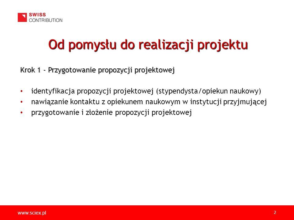 www.sciex.pl 2 Krok 1 - Przygotowanie propozycji projektowej identyfikacja propozycji projektowej (stypendysta/opiekun naukowy) nawiązanie kontaktu z opiekunem naukowym w instytucji przyjmującej przygotowanie i złożenie propozycji projektowej Od pomysłu do realizacji projektu