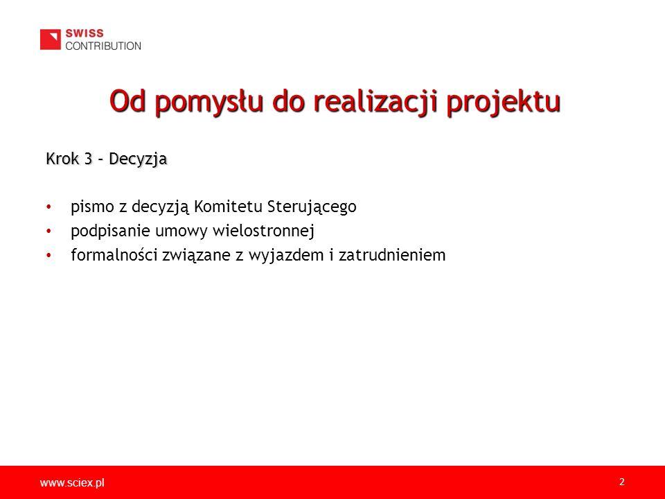 www.sciex.pl 2 Krok 3 – Decyzja pismo z decyzją Komitetu Sterującego podpisanie umowy wielostronnej formalności związane z wyjazdem i zatrudnieniem Od pomysłu do realizacji projektu