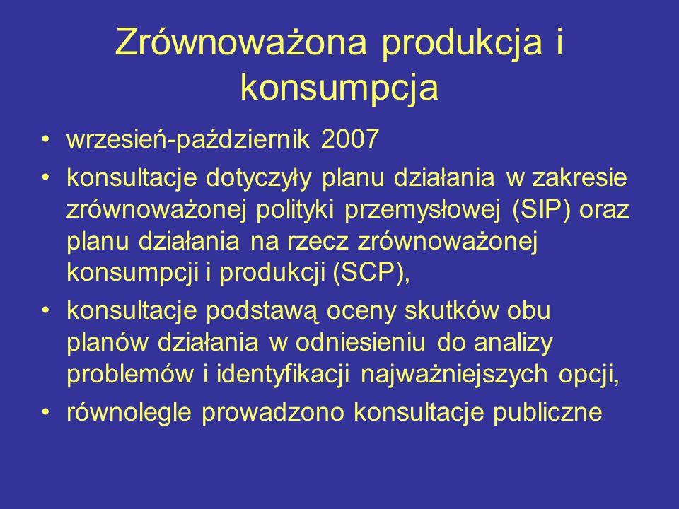 Zrównoważona produkcja i konsumpcja wrzesień-październik 2007 konsultacje dotyczyły planu działania w zakresie zrównoważonej polityki przemysłowej (SI
