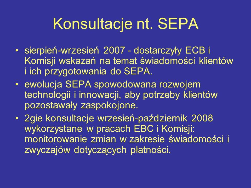 Konsultacje nt. SEPA sierpień-wrzesień 2007 - dostarczyły ECB i Komisji wskazań na temat świadomości klientów i ich przygotowania do SEPA. ewolucja SE
