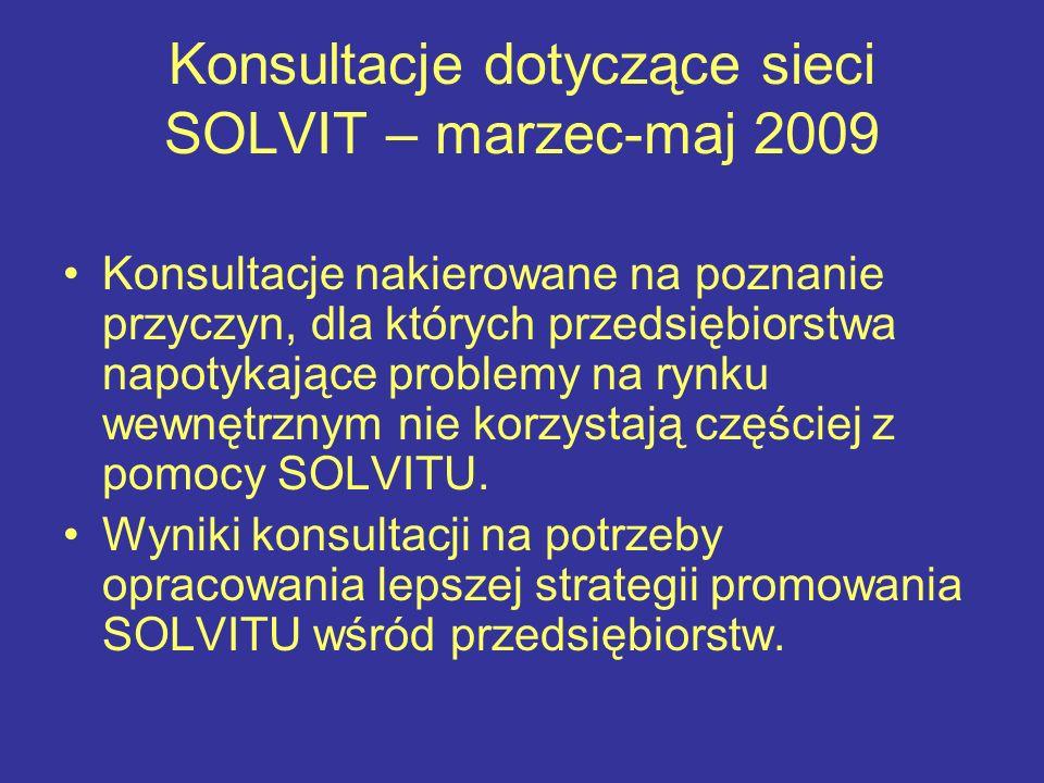 Konsultacje dotyczące sieci SOLVIT – marzec-maj 2009 Konsultacje nakierowane na poznanie przyczyn, dla których przedsiębiorstwa napotykające problemy