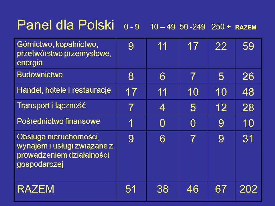 Panel dla Polski 0 - 9 10 – 49 50 -249 250 + RAZEM Górnictwo, kopalnictwo, przetwórstwo przemysłowe, energia 911172259 Budownictwo 867526 Handel, hote
