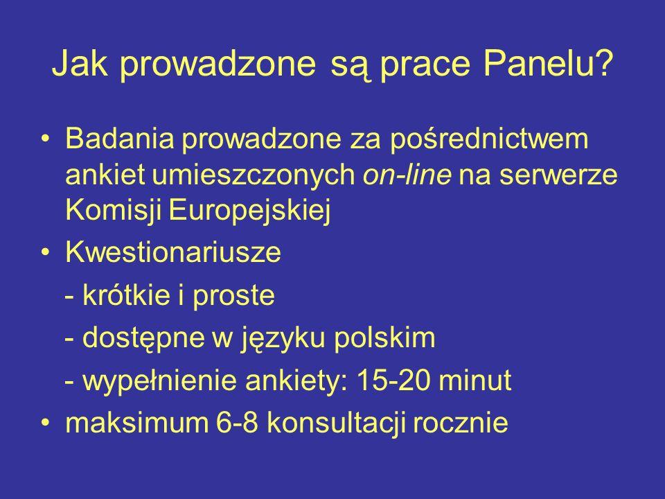 Jak prowadzone są prace Panelu? Badania prowadzone za pośrednictwem ankiet umieszczonych on-line na serwerze Komisji Europejskiej Kwestionariusze - kr