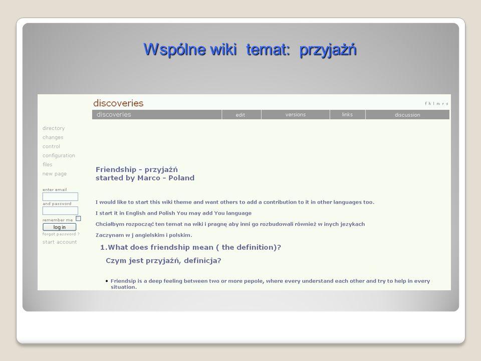Wspólne wiki temat: przyjażń