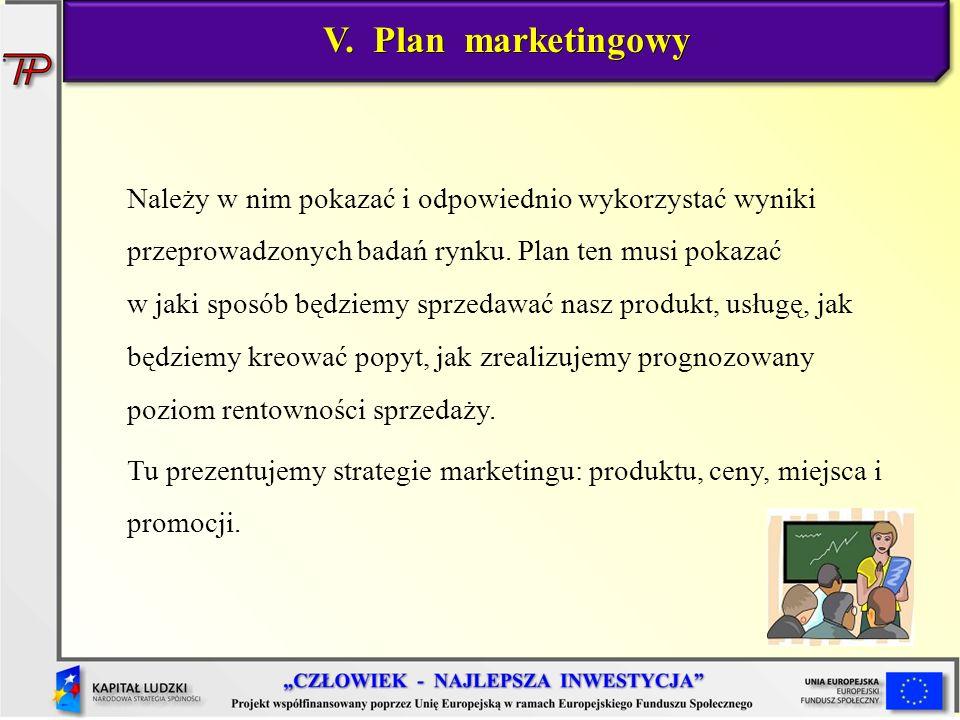 V. Plan marketingowy Należy w nim pokazać i odpowiednio wykorzystać wyniki przeprowadzonych badań rynku. Plan ten musi pokazać w jaki sposób będziemy