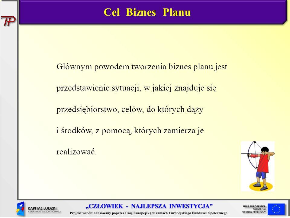 Cel Biznes Planu Głównym powodem tworzenia biznes planu jest przedstawienie sytuacji, w jakiej znajduje się przedsiębiorstwo, celów, do których dąży i