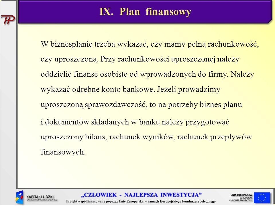 W biznesplanie trzeba wykazać, czy mamy pełną rachunkowość, czy uproszczoną. Przy rachunkowości uproszczonej należy oddzielić finanse osobiste od wpro