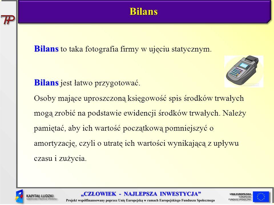 Bilans Bilans to taka fotografia firmy w ujęciu statycznym. Bilans Bilans jest łatwo przygotować. Osoby mające uproszczoną księgowość spis środków trw