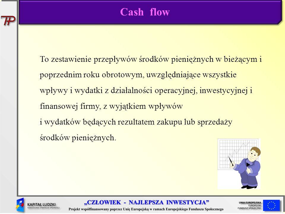 Cash flow To zestawienie przepływów środków pieniężnych w bieżącym i poprzednim roku obrotowym, uwzględniające wszystkie wpływy i wydatki z działalnoś