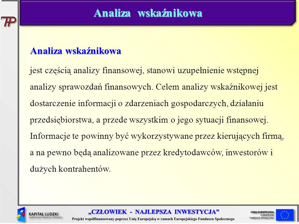 Analiza wskaźnikowa jest częścią analizy finansowej, stanowi uzupełnienie wstępnej analizy sprawozdań finansowych. Celem analizy wskaźnikowej jest dos