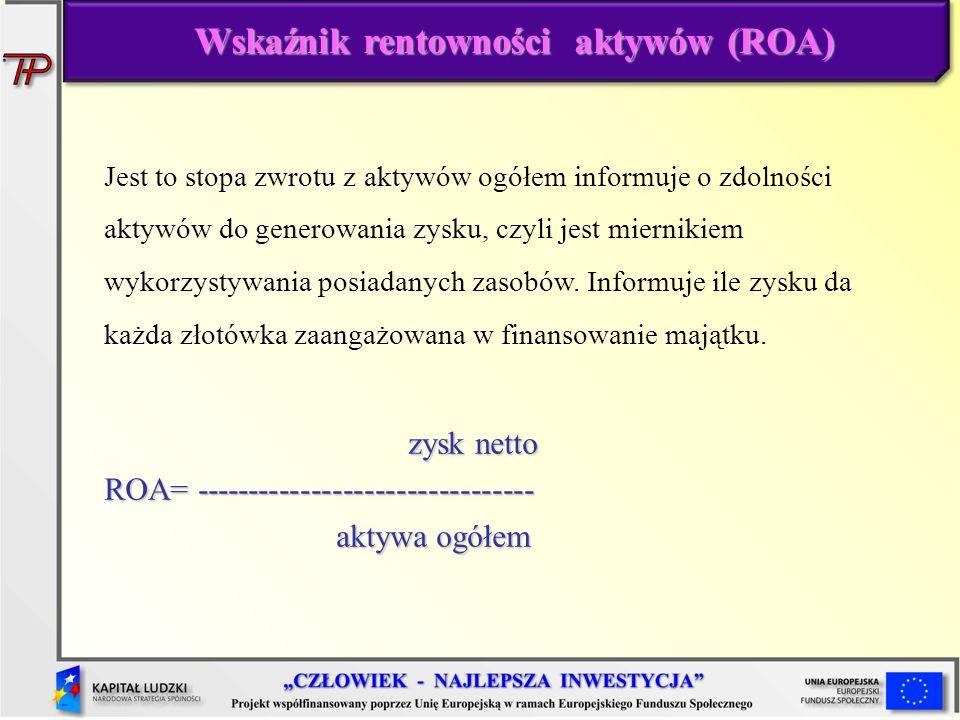 Wskaźnik rentowności aktywów (ROA) Jest to stopa zwrotu z aktywów ogółem informuje o zdolności aktywów do generowania zysku, czyli jest miernikiem wyk