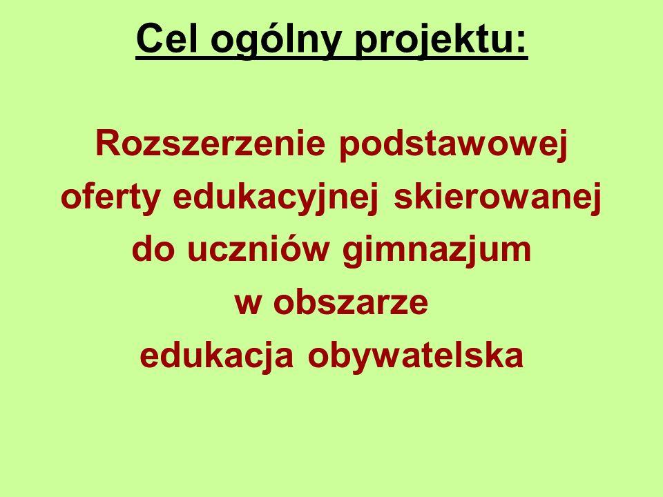 Cel ogólny projektu: Rozszerzenie podstawowej oferty edukacyjnej skierowanej do uczniów gimnazjum w obszarze edukacja obywatelska