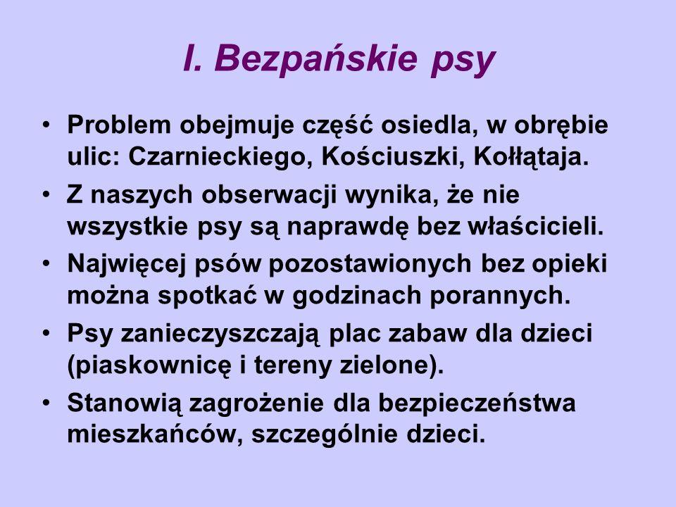 I. Bezpańskie psy Problem obejmuje część osiedla, w obrębie ulic: Czarnieckiego, Kościuszki, Kołłątaja. Z naszych obserwacji wynika, że nie wszystkie