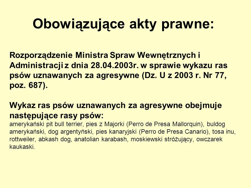 Rozporządzenie Ministra Spraw Wewnętrznych i Administracji z dnia 28.04.2003r. w sprawie wykazu ras psów uznawanych za agresywne (Dz. U z 2003 r. Nr 7