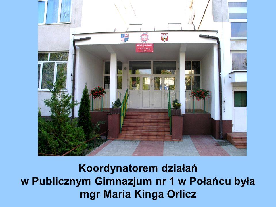 Koordynatorem działań w Publicznym Gimnazjum nr 1 w Połańcu była mgr Maria Kinga Orlicz