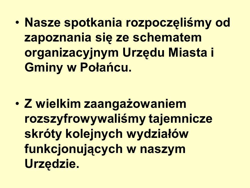 Nasze spotkania rozpoczęliśmy od zapoznania się ze schematem organizacyjnym Urzędu Miasta i Gminy w Połańcu. Z wielkim zaangażowaniem rozszyfrowywaliś