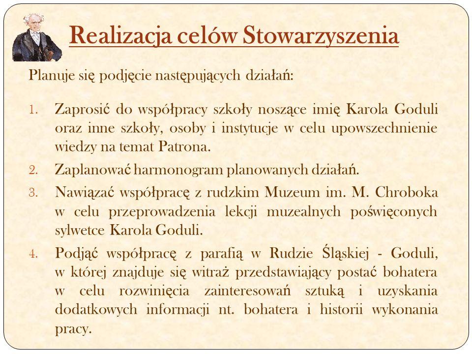 Realizacja celów Stowarzyszenia Planuje si ę podj ę cie nast ę puj ą cych dzia ł a ń : 1.