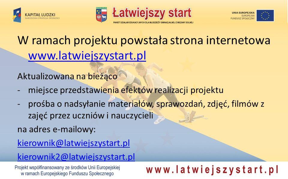 W ramach projektu powstała strona internetowa www.latwiejszystart.pl www.latwiejszystart.pl Aktualizowana na bieżąco -miejsce przedstawienia efektów r