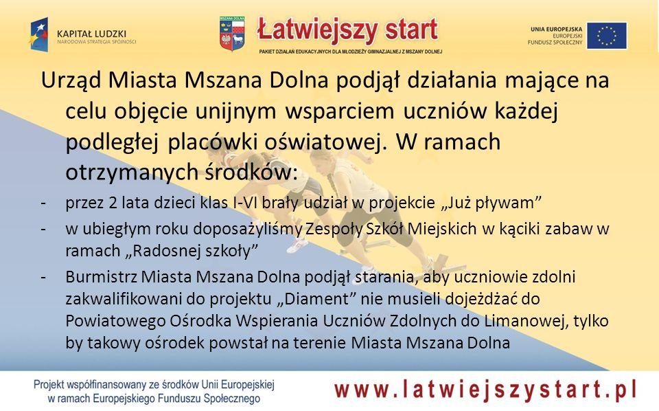 Urząd Miasta Mszana Dolna podjął działania mające na celu objęcie unijnym wsparciem uczniów każdej podległej placówki oświatowej. W ramach otrzymanych