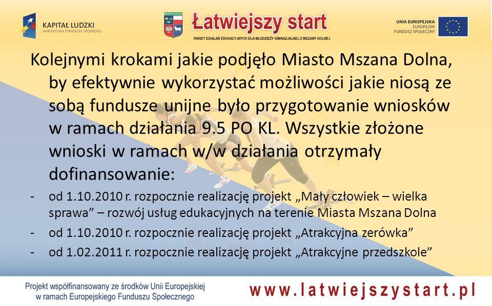 Kolejnymi krokami jakie podjęło Miasto Mszana Dolna, by efektywnie wykorzystać możliwości jakie niosą ze sobą fundusze unijne było przygotowanie wniosków w ramach działania 9.5 PO KL.