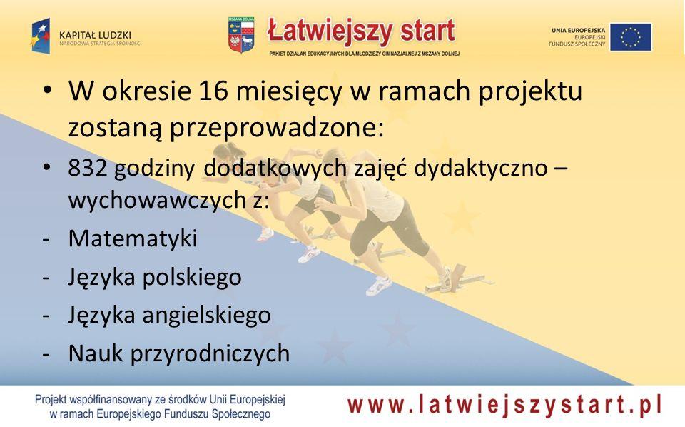 W okresie 16 miesięcy w ramach projektu zostaną przeprowadzone: 832 godziny dodatkowych zajęć dydaktyczno – wychowawczych z: -Matematyki -Języka polskiego -Języka angielskiego -Nauk przyrodniczych