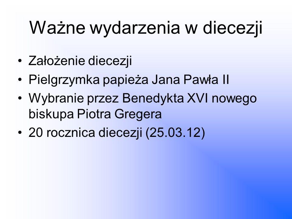 Ważne wydarzenia w diecezji Założenie diecezji Pielgrzymka papieża Jana Pawła II Wybranie przez Benedykta XVI nowego biskupa Piotra Gregera 20 rocznic