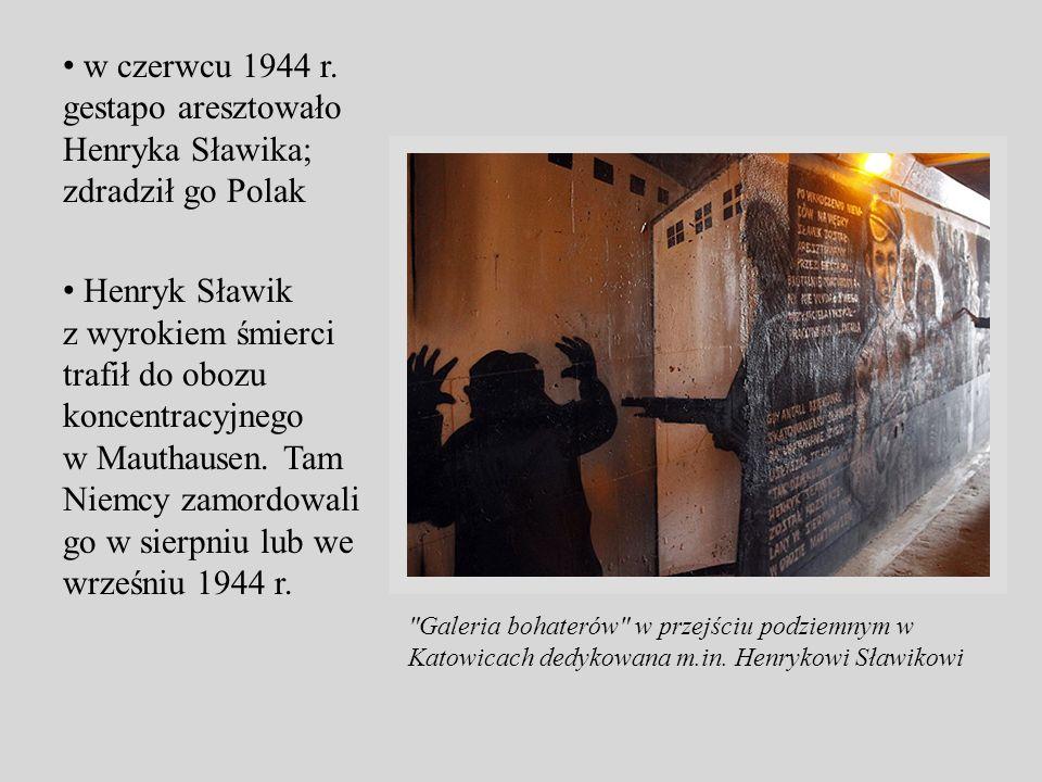 w czerwcu 1944 r. gestapo aresztowało Henryka Sławika; zdradził go Polak Henryk Sławik z wyrokiem śmierci trafił do obozu koncentracyjnego w Mauthause