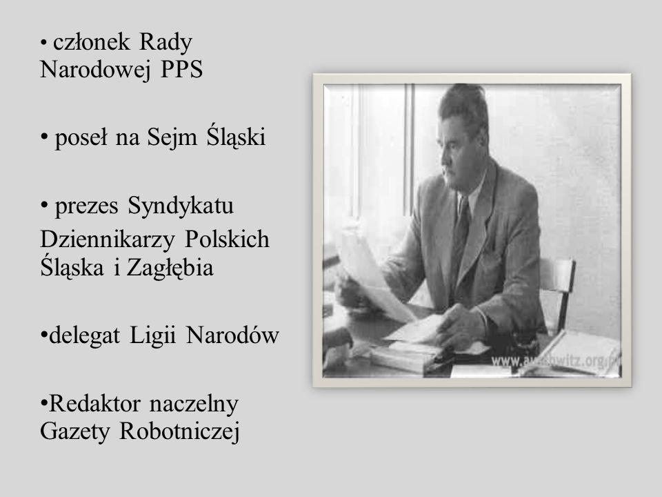 członek Rady Narodowej PPS poseł na Sejm Śląski prezes Syndykatu Dziennikarzy Polskich Śląska i Zagłębia delegat Ligii Narodów Redaktor naczelny Gazet