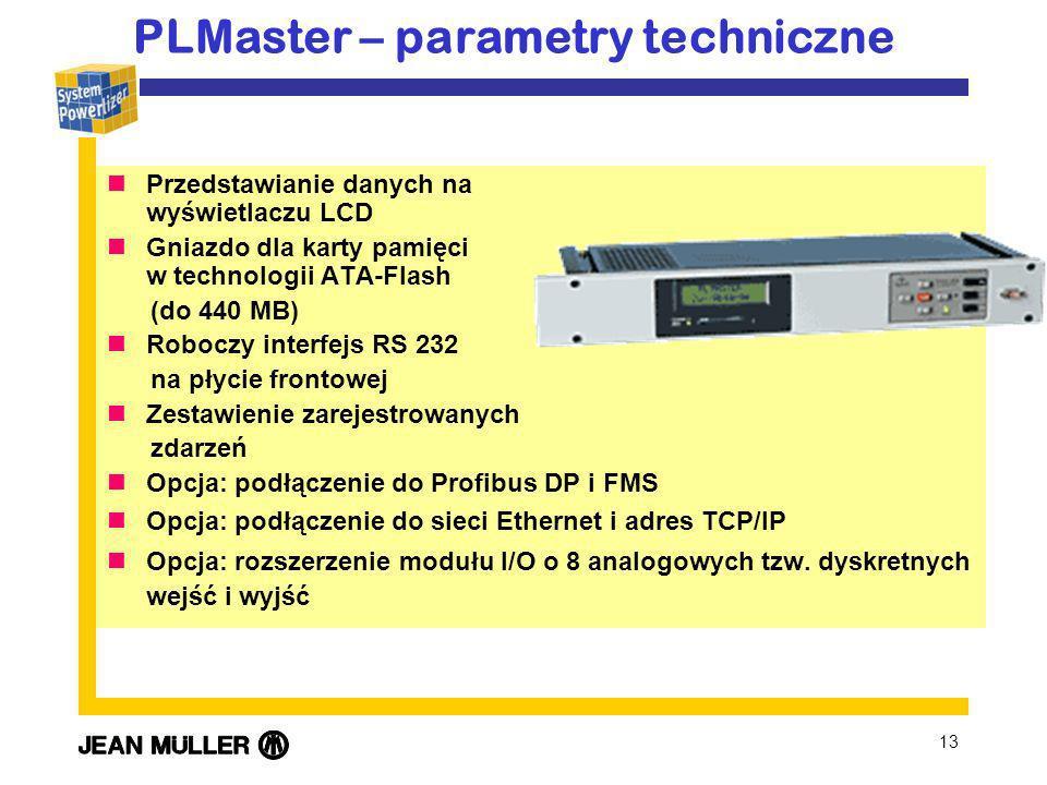13 Przedstawianie danych na wyświetlaczu LCD Gniazdo dla karty pamięci w technologii ATA-Flash (do 440 MB) Roboczy interfejs RS 232 na płycie frontowej Zestawienie zarejestrowanych zdarzeń Opcja: podłączenie do Profibus DP i FMS Opcja: podłączenie do sieci Ethernet i adres TCP/IP Opcja: rozszerzenie modułu I/O o 8 analogowych tzw.