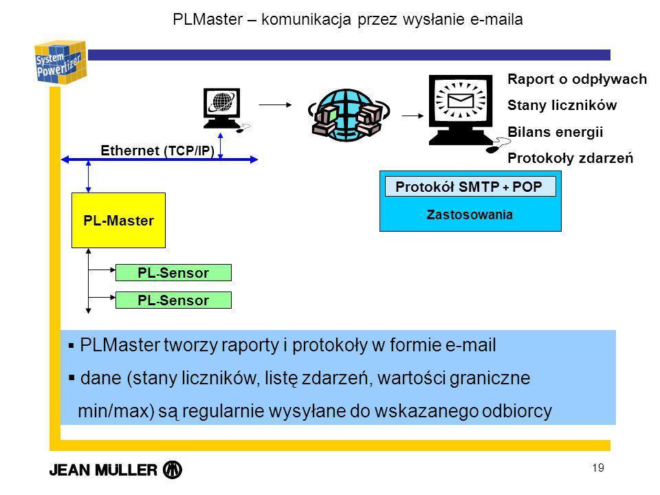 19 PLMaster – komunikacja przez wysłanie e-maila PLMaster tworzy raporty i protokoły w formie e-mail dane (stany liczników, listę zdarzeń, wartości graniczne min/max) są regularnie wysyłane do wskazanego odbiorcy PL-Master PL - Sensor Ethernet (TCP/IP) Protokół SMTP + POP Zastosowania Raport o odpływach Stany liczników Bilans energii Protokoły zdarzeń
