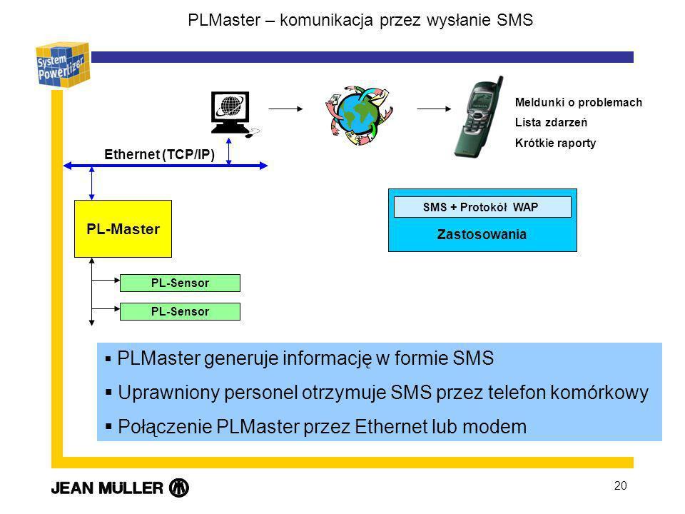 20 PLMaster generuje informację w formie SMS Uprawniony personel otrzymuje SMS przez telefon komórkowy Połączenie PLMaster przez Ethernet lub modem PL-Master PL-Sensor Ethernet (TCP/IP) SMS + Protokół WAP Zastosowania Meldunki o problemach Lista zdarzeń Krótkie raporty PLMaster – komunikacja przez wysłanie SMS
