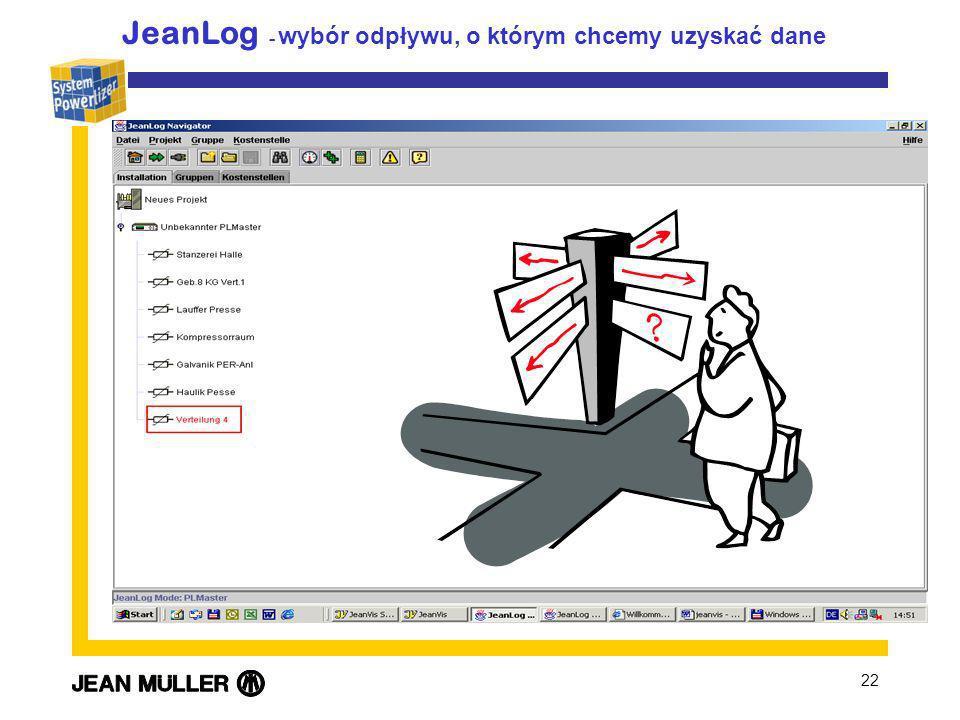 22 JeanLog - wybór odpływu, o którym chcemy uzyskać dane