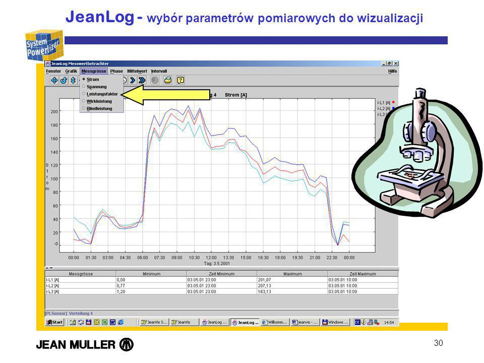 30 JeanLog - wybór parametrów pomiarowych do wizualizacji