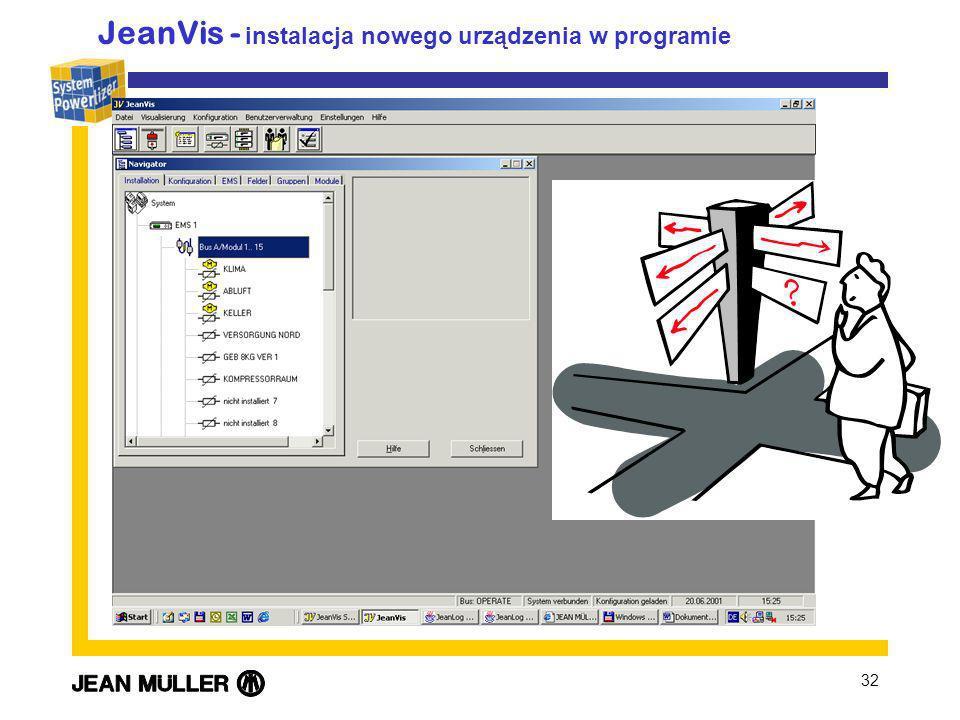 32 JeanVis - instalacja nowego urządzenia w programie